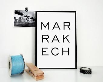 Marrakech Printable Print, Morocco Print, Africa, Travel Poster, Typography, Minimal Print, Scandinavian Design, Travel Art Print, JPG & PDF