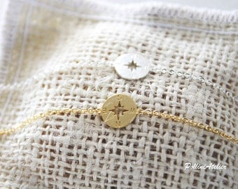 Compass Bracelet in Gold / Silver. Fun Jewelry. Modern Jewelry. Travel Souvenir. Unisex Gift (PBL- 27)