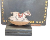 Vintage Toy Rocking Horse 1960's Painted Toy Rocking Horse, Country Cottage Primitive Farmhouse Decor Wood Cut Out Shelf Sitter Shelf Tuck
