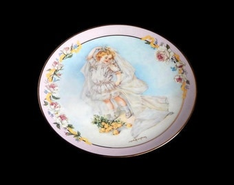 1992 Playing Bride by Maud Humphrey Bogart, Limited Edition Fine Art Collector's Plate Hamilton Victorian Playing Plate Collection, Mint