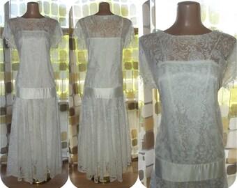 Vintage 80s Dress | 1980s Flapper Dress | Retro 20s | White Crochet Lace | Gatsby Dress | Drop Waist | BOHO Wedding Bridal Gown | Sz M/L