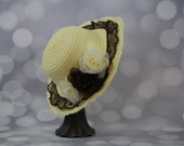 Tea Party Hat; Yellow Easter Bonnet with Black Satin Ribbon; Girls Sun Hat; Pale Yellow Easter Hat; Sunday Dress Hat; Derby Hat; 16203