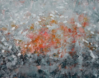 Textured Painting Large Abstract Landscape Oil Cold Wax Together We Fly   17 x 22  Swalla Studio Free Shipping