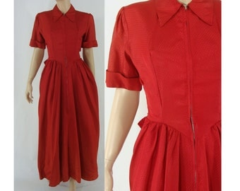 SALE Vintage Forties Dress - 1940s Dressing Gown - 40s Hostess Dress - Red Maxi Dress - Small