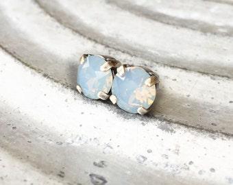 Rhinestone Earrings - Rhinestone Stud Earrings - Serentiy Blue Opal Rhinestone Earrings - Opal Solitaire Earrings - Opal Earrings