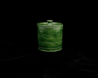 Stoneware Lidded Stamped Jar