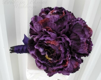 Purple peony Wedding bouquet Silk Brides bouquet