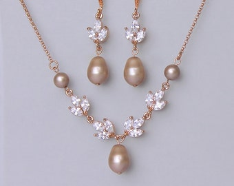 Champagne Blush Jewelry Set, Rose Gold Jewelry set, Pink Gold Bridal Set, Blush Pearl Earrings & Necklace set, HAYLEY RGAP