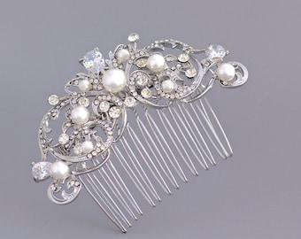 Crystal Hair Comb, Vintage Wedding Hair Comb, Ivory Pearl Bridal Hair Clip, Bridal Hairpiece,,  Bridal Hair Accessory, ROCIO