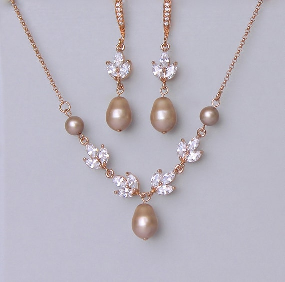 Champagne blush jewelry set rose gold jewelry set pink gold for Jewelry for champagne wedding dress