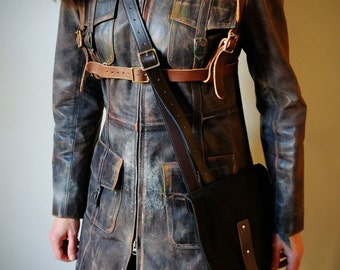 Real Leather Full Length Dystopian Coat with chest Harness and Waxed Canvas Bag - mad max, apocalypse, Please read description for sizes
