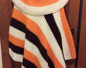 Brown, Orange and White Crochet Poncho  - Great for Cleveland Browns NFL Football Fans