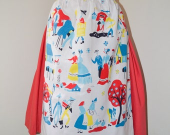 1950s Novelty village farm print cotton apron / 50s printed pinny