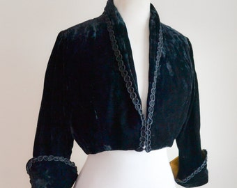 1940s 50s Black velvet cropped jacket / 40s matador bolero - S