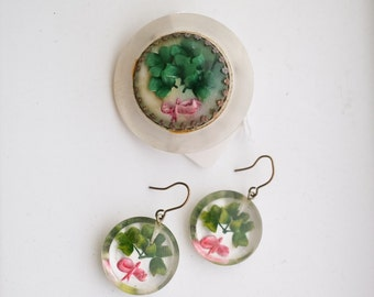 1950s Reverse carved clover lucite earrings & brooch set / 50s carved plastic