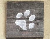 Rustic Barn Wood Wall Decor  • Paw Print Silhouette Wall Art • Wooden Chalk Paint Wall Hanging • Ready to Ship