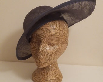 Tilted brim hat in dark grey