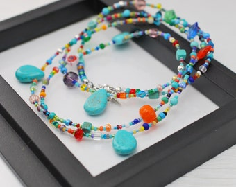 Turquoise Necklace, Beaded Necklace, Seed Bead Necklace, Bohemian Necklace, Boho Necklace, Hippie Necklace, Colorful Necklace, Long Necklace