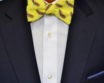 Yellow Bald Eagle Men's Bow Tie or Necktie on Organic Cotton, Self tie Bow Tie, Pre-tied Bow Tie, Adjustable Mens Bow Tie
