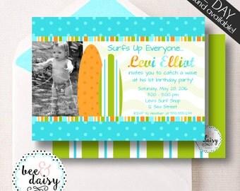 Surfer Invitation, Surfer Birthday Invitation, Surfer Party, Boy First Birthday, Boy Birthday, Surfer Invite, Surfer Photo Invitation