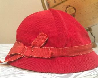 vintage red corduroy hat