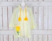 Vintage 60s/70s sheer yellow cotton sunflower kimono cardigan cover up/boho/hippie top/tassel blouse