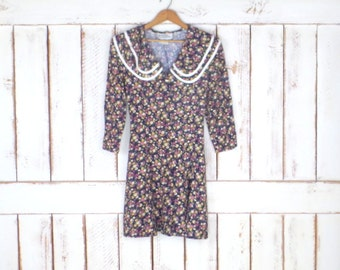90s grunge black/pink/yellow floral knee length dress/baby doll floral vintage dress/peter pan collar button down dress