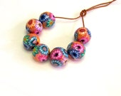 Round floral beads. handmade beads. Polymer clay beads. Millefiori beads. floral beads. Round beads. 12 mm beads. Autumn Fall