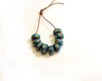 Turquoise Disc beads. handmade beads. Polymer clay beads. Millefiori beads. Fimo beads. Flat Round beads. Autumn Fall