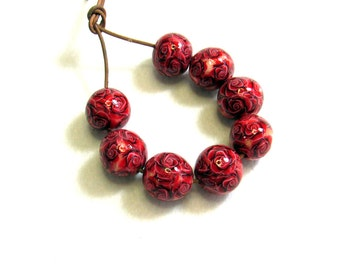 Handmade floral beads. Polymer clay beads. Millefiori beads. Fimo beads. Rose beads. Round small beads. Red rose.
