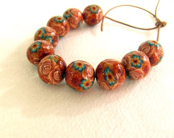 Fall Beads. Handmade floral beads. Polymer clay beads. Millefiori beads. Fimo beads. Rose beads. Round small beads. Camel brown turquoise