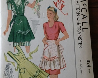 Vintage 1944 40s Womens Apron Sewing Pattern L 18-20 Ruffled w Transfer