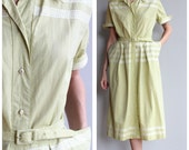 Reserve for Laura // 1950s Dress // Chartreuse Cotton Dress // vintage 50s day dress