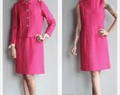 1960s Dress Set // Bright Pink Anne Fogerty Dress & Jacket // vintage 60s dress