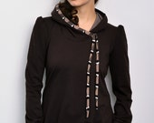 brown hoodie sweater - retro dots