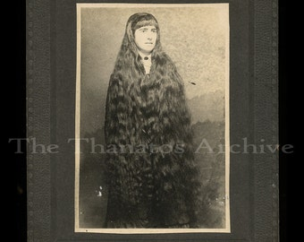 Unusual Antique Photo ~ Woman with Very Long Hair
