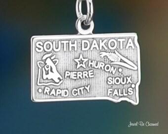 Sterling Silver South Dakota Charm State America SD USA Solid .925