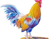 Rooster Wall Art Watercolor Kitchen Decor 10x10 Original Painting Hand Painted Chicken by Janet Zeh