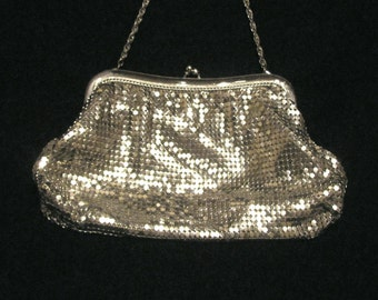 Vintage Purse Whiting & Davis Purse 1930's Silver Mesh Purse Formal Bridal Wedding Purse