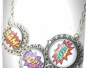 Geek Inspired Glass Tile Necklace Bam Pop Pow!