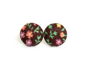 Brown button earrings  - fabric earrings - stud earrings vintage style flower - spring earrings