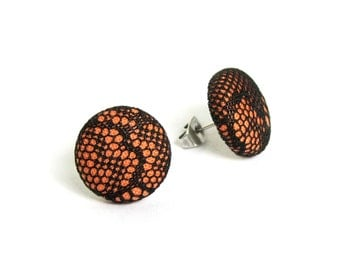 Orange button earrings - black lace fabric earrings - tiny stud earrings - sexy present for her
