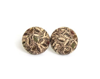 Brown button earrings - brown stud earrings - tiny fabric earrings - vintage style retro - gift for her