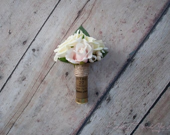 Shotgun Shell Wedding Boutonniere with Blush and Ivory Roses