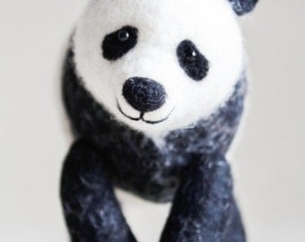 Felt Panda - Nuo. Art Toy, felted panda stuffed toy, gift for kids, plush Panda Bear Marionette Stuffed Animal Felted Toys. black and  white
