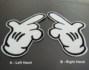 Iron on Patch - Hand Patch Black and White Hand Patches Cartoon Hands Iron on Applique Embroidered Patch Sew On Patch