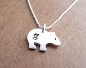 Personalized Tiny Bear Cub Necklace, Monogram Bear Cub, Lower Case Initial Bear, Fine Silver, Sterling Silver Chain, Made To Order