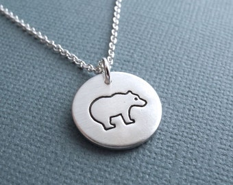 Small Bear Necklace, Mother Bear Necklace, Fine Silver, Sterling Silver Chain, Ready To Ship