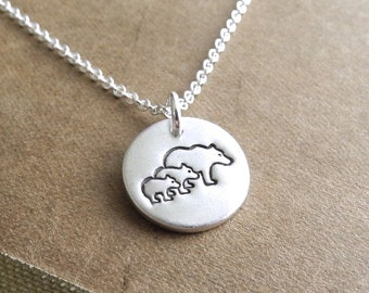 Tiny Mother Bear and Two Cubs Necklace, Mom and Two Kids, Two Children Jewelry, Fine Silver, Sterling Silver Chain, Ready To Ship