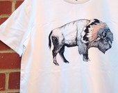 White Bison | Screen Printed Organic T-shirt | 100% cotton | Vintage White